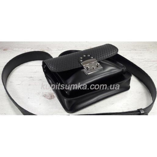 Стильная кожаная сумочка Barberini черная с тиснением