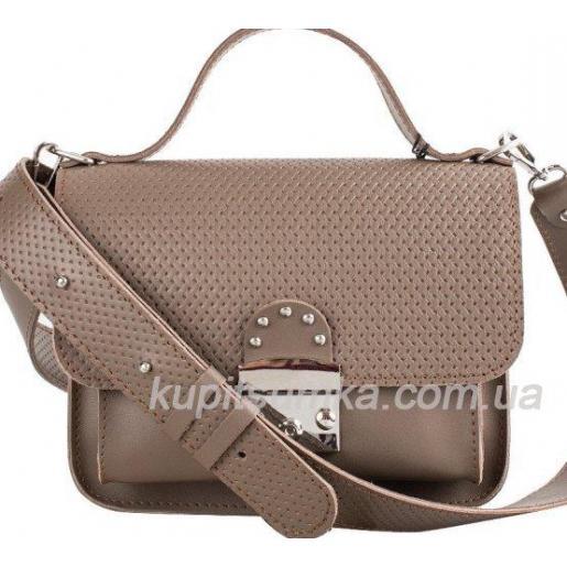 Стильная кожаная сумочка Barberini Бежевая