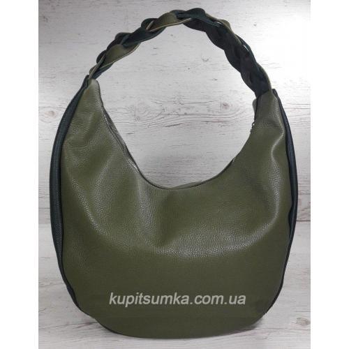 Женская кожаная сумка Bianca с плетёной ручкой Зелёная оливка