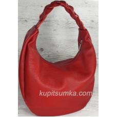 Женская кожаная сумка Bianca с плетёной ручкой Красная