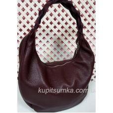 Женская кожаная сумка Bianca с плетёной ручкой Марсала