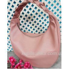 Женская кожаная сумка Bianca с плетёной ручкой Розовая