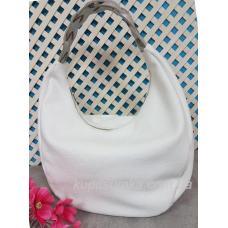 Женская кожаная сумка Bianca с плетёной серебристой ручкой