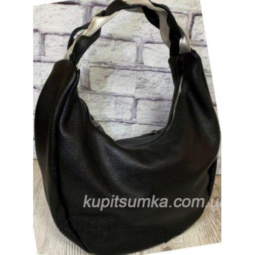 Женская кожаная сумка Bianca с плетёной ручкой Чёрная