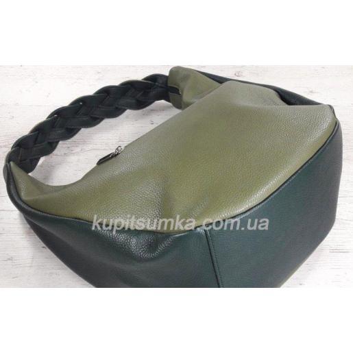 Женская кожаная сумка через плечо зеленая Bianca 3A-672