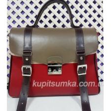 Винтажная сумка Boston из натуральной красной кожи с чёрными ремнями