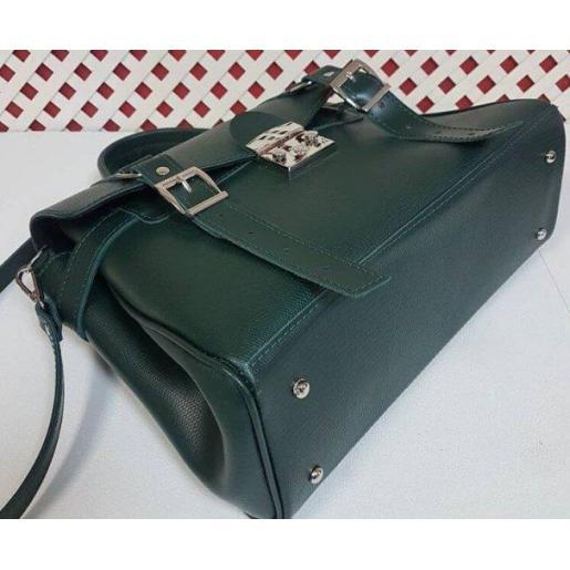 Винтажная сумка Boston из натуральной зеленой кожи