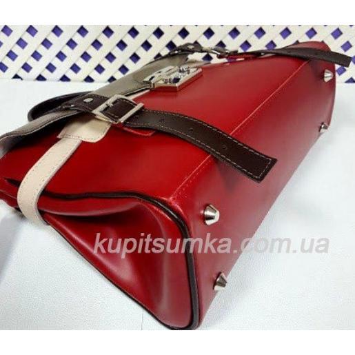 Женская кожаная сумка красная Boston Bost-1-37