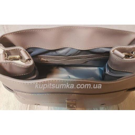 Винтажная сумка Boston из натуральной бежевой кожи
