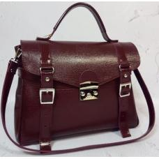 Женская кожаная сумка - саквояж Boston Bost-2 Бордовый