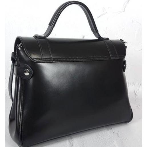 Женская кожаная сумка - саквояж черная Boston BARL-2