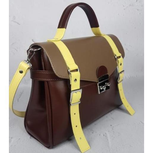 Кожаная сумка - саквояж Boston Bost-3 Коричневый