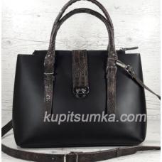 Кожаная женская сумка Chloé с экзотической отделкой 27А Черный