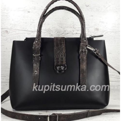 Кожаная женская сумка Chloé 27А Черный