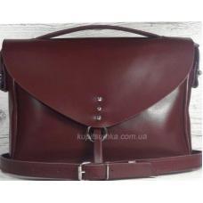 Современная сумка из натуральной бордовой кожи