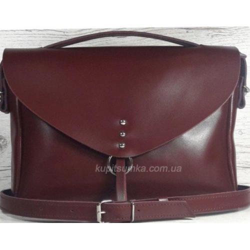Женская кожаная сумка-мессенджер бордовая DOP11A-24