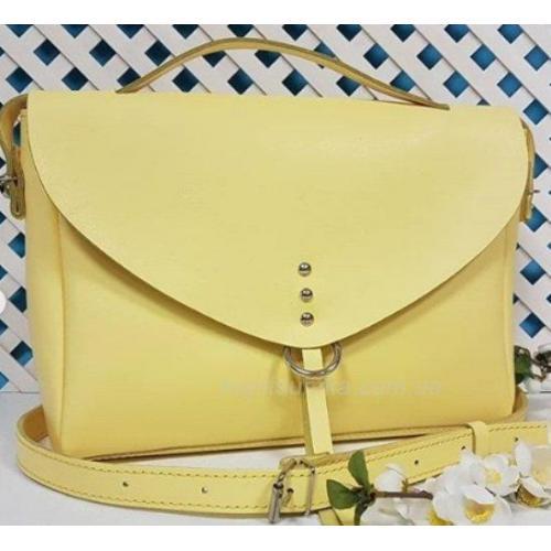 Женская сумка лимонного цвета натуральной кожи