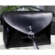 Черная глянцевая сумка натуральной кожи