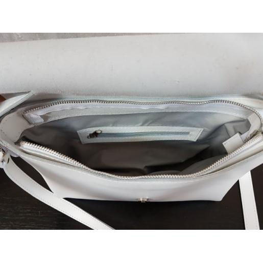 Женская кожаная сумка мессенджер белая 11A-DOP-1
