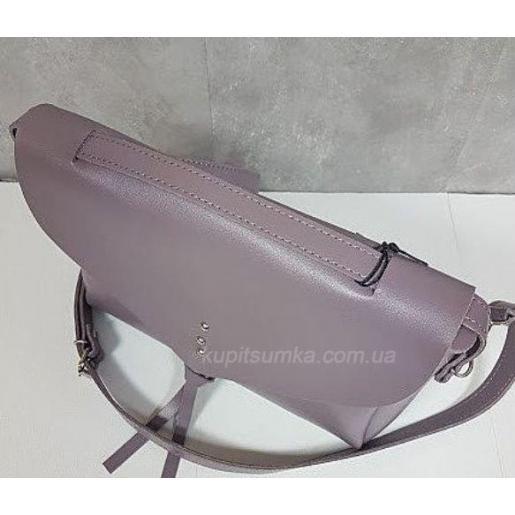 Кожаная женская сумка мессенджер серая