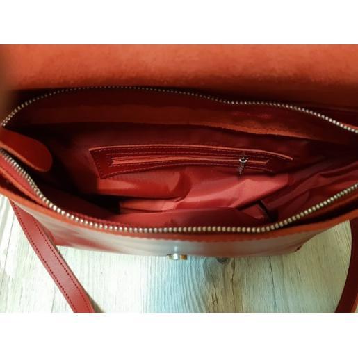 Женская кожаная сумка мессенджер красная 11A-DOP-7