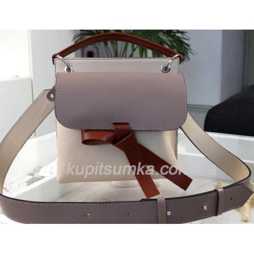 Завораживающая бежевая кожаная сумочка Fabiola