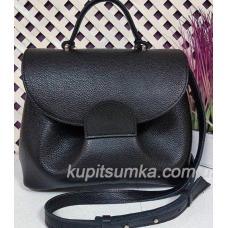 Очаровательная сумка из натуральной мягкой кожи чёрная