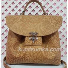 Очаровательная сумка из натуральной телячьей кожи Кэмел