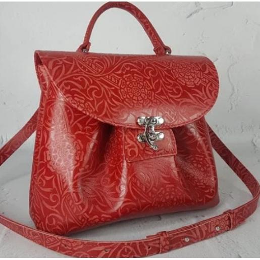 Кожаная женская сумка Vintage FID2 Красный