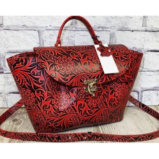 Женская сумка из натуральной кожи в стиле винтаж красная с принтом