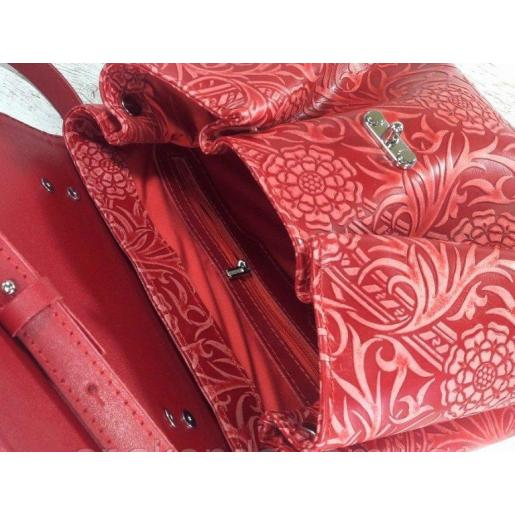 Женская сумка из натуральной кожи в стиле винтаж красная