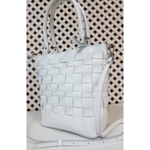 Кожаная белая женская сумка Freska1KA