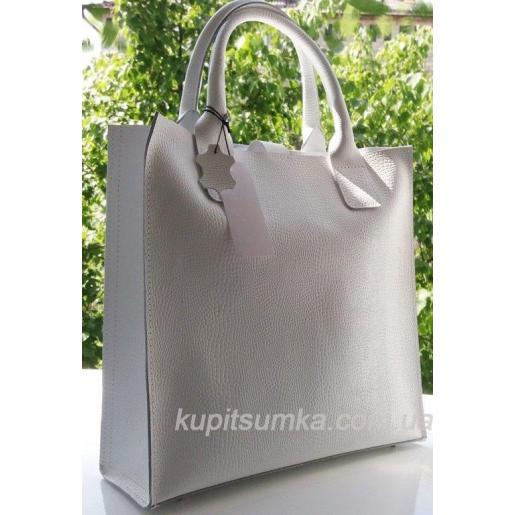 Белая женская сумка из натуральной тисненой кожи 11А