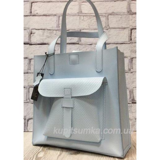 Голубая сумка из натуральной матовой кожи с передним карманом
