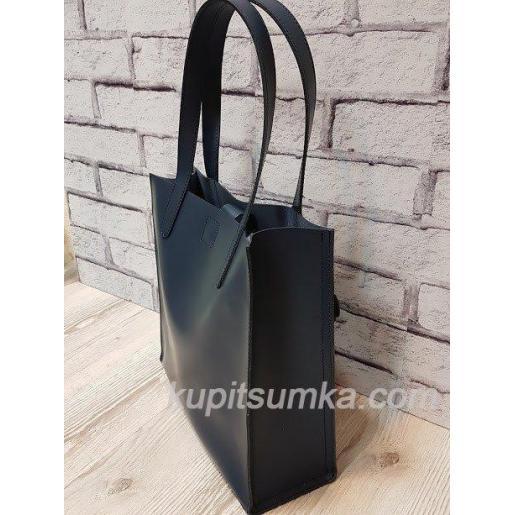 Синяя женская сумка из натуральной матовой кожи