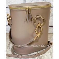 Круглая кожаная сумка через плечо для женщин Lady Girls Капучино