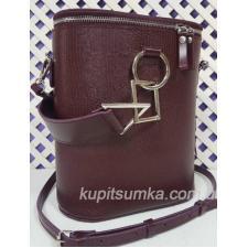 Круглая кожаная сумка через плечо для женщин Lady Girls Марсала