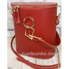 Круглая кожаная сумка через плечо для женщин Lady Girls Красный