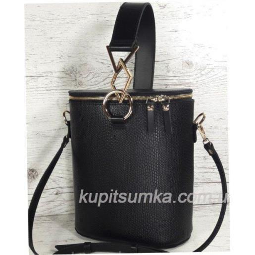 Круглая кожаная сумка через плечо для женщин Lady Girls Чёрный