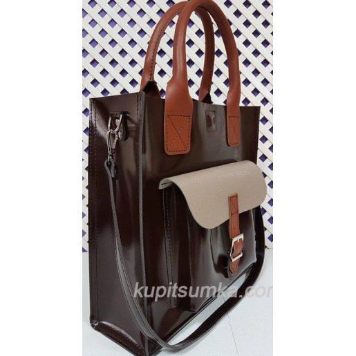 Кожаная женская сумка из натуральной кожи 11А Коричневый