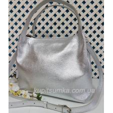 Женская сумка из натуральной кожи серебристая
