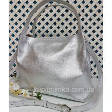 Женская сумка из натуральной кожи Серебристый