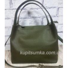Женская сумка Bottega из натуральной тисненой кожи Зелёный