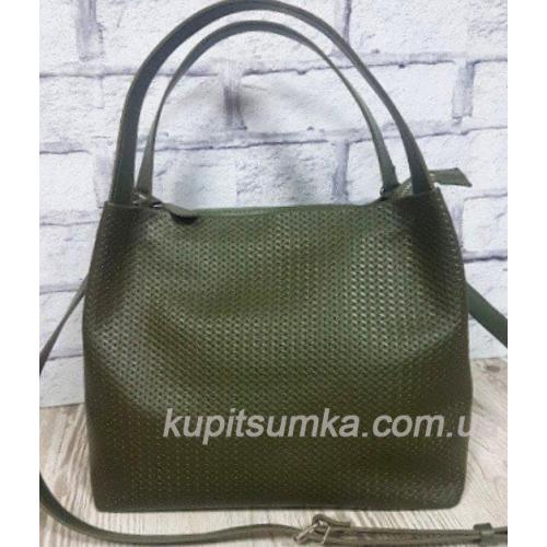 Кожаная сумка женская зеленая Bottega 12A-26