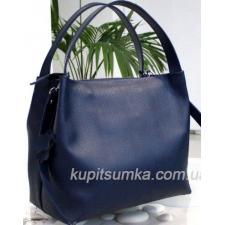 Женская сумка Bottega из натуральной тисненой кожи Синяя