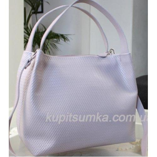 Женская сумочка из натуральной кожи лавандового цвета
