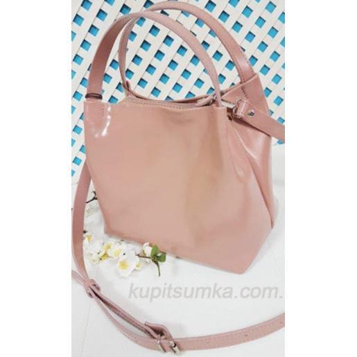 Женская сумка из натуральной глянцевой кожи розовая