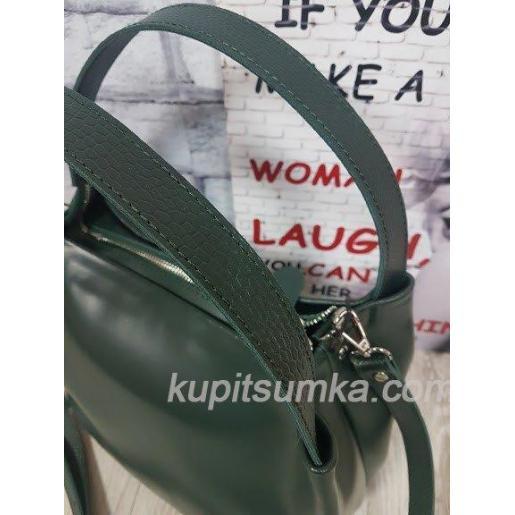 Идеальная женская сумочка из натуральной кожи зелёная