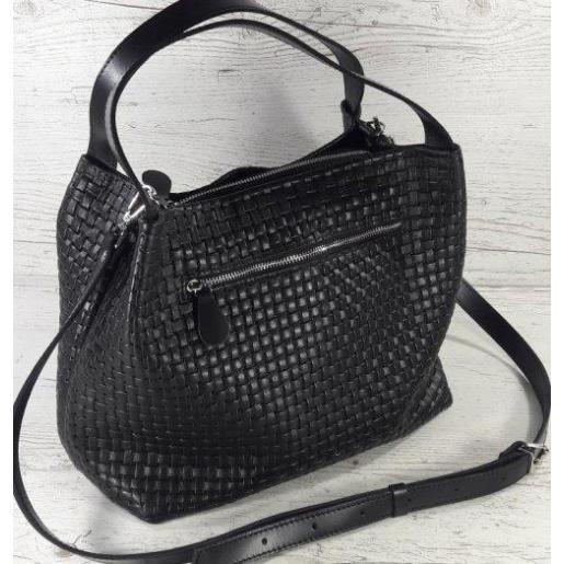 Идеальная женская сумочка из натуральной рефленой кожи черная