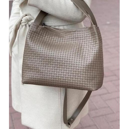 Женская сумочка Bottega из натуральной кожи Капучино